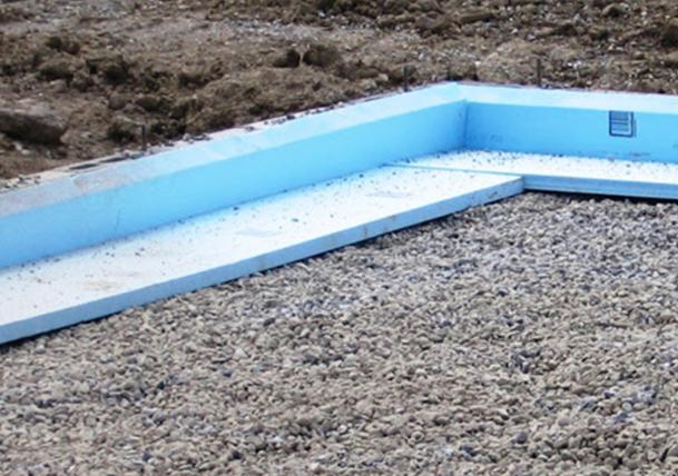 Cutaway image of DuPont™ Brand Styrofoam™ installed below foundation layers