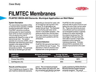 FILMTEC BW30-400 Elements: Municipal application on well water case study