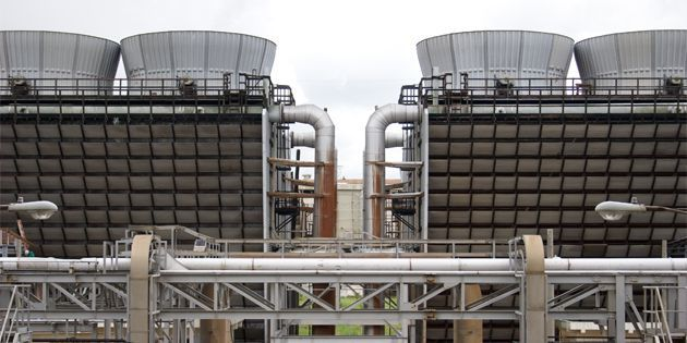 Two cooling water towers that use Vespel® wear rings in centrifugal pumps.