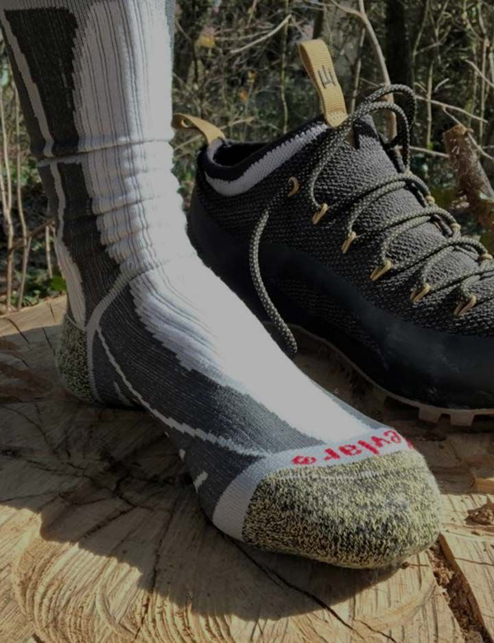 A pair of socks made by Rywan and Estex that features Kevlar®