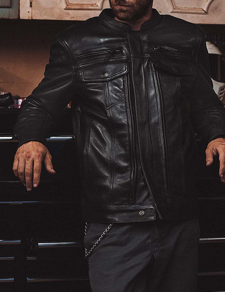 Men's motorcycle apparel from First MFG CO made with Kevlar®