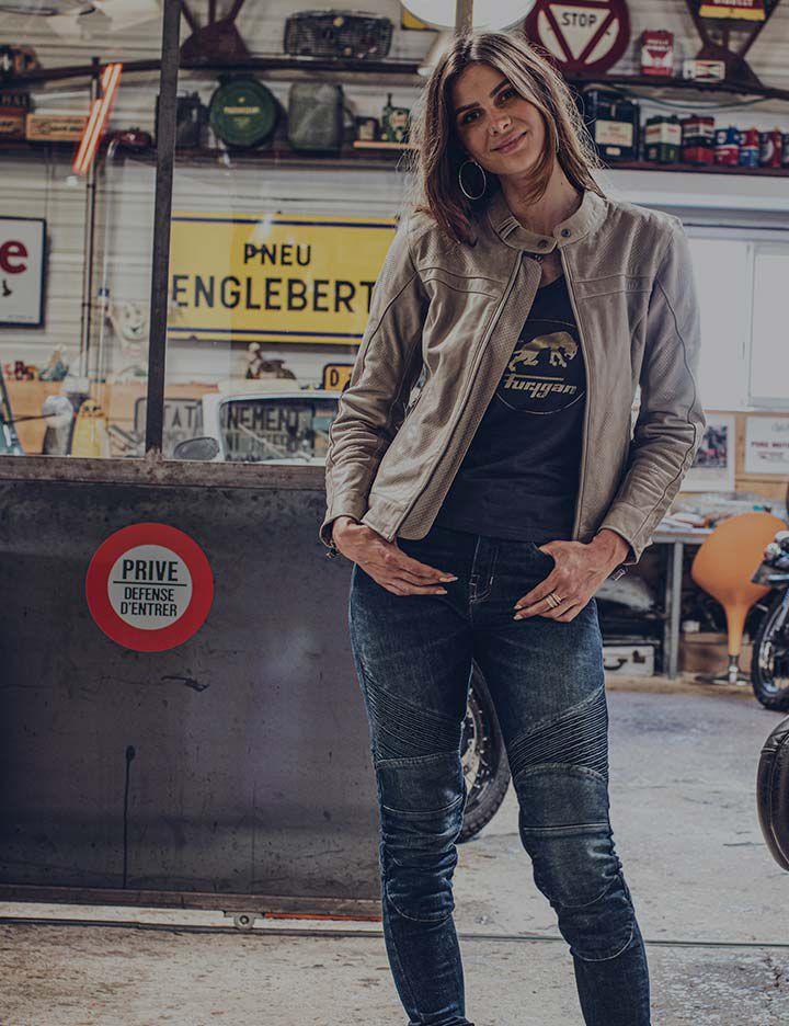 Kevlar® providing superior abrasion resistance in Furygan women's motorcycle apparel