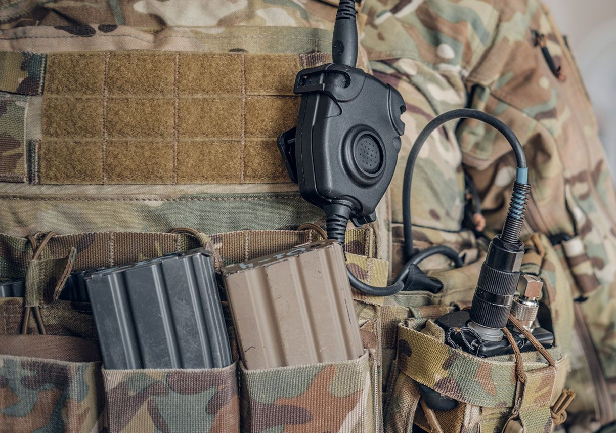 Close-up of a DuPont™ Kevlar® and DuPont™ Tensylon® military hard armor vest application
