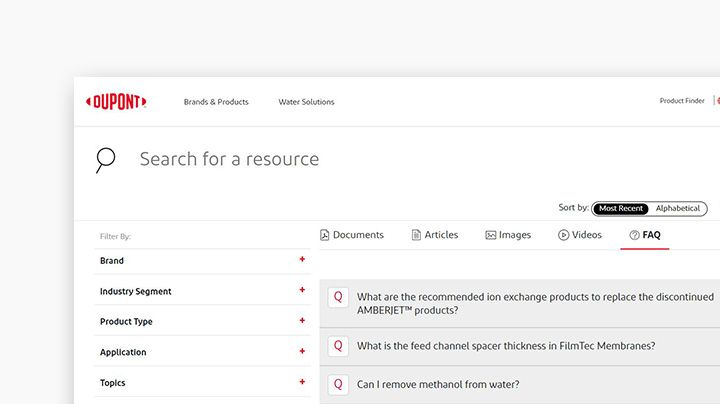 Screenshot of the FAQ section of the Resource Center