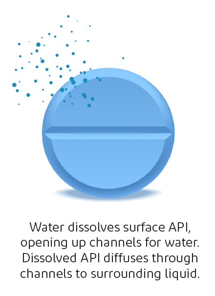 Illustration of hydrophobic matrix tablet when activated by water.