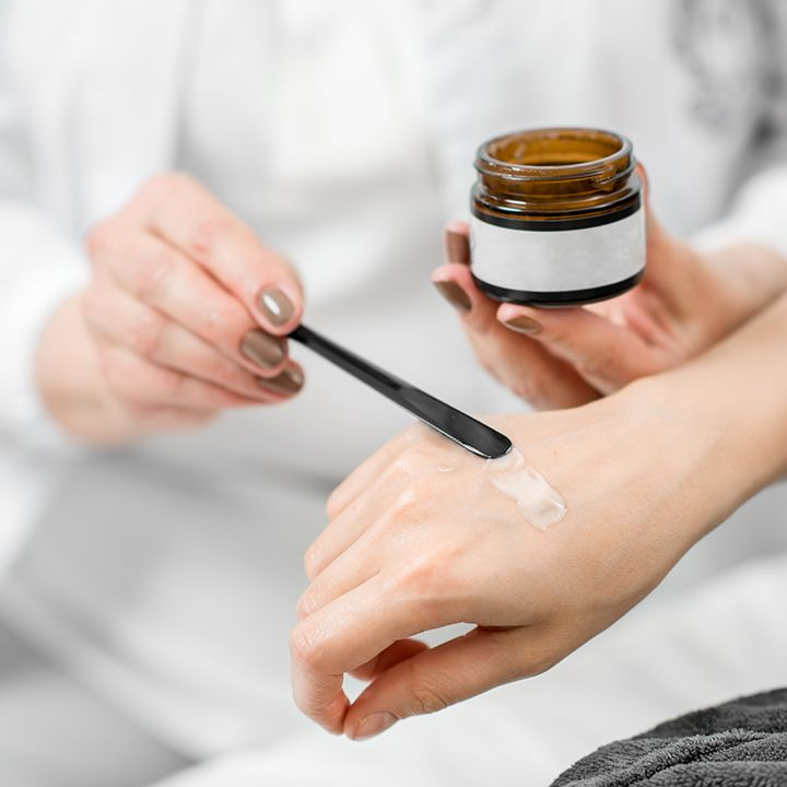 Drug delivery via gel applied to skin.