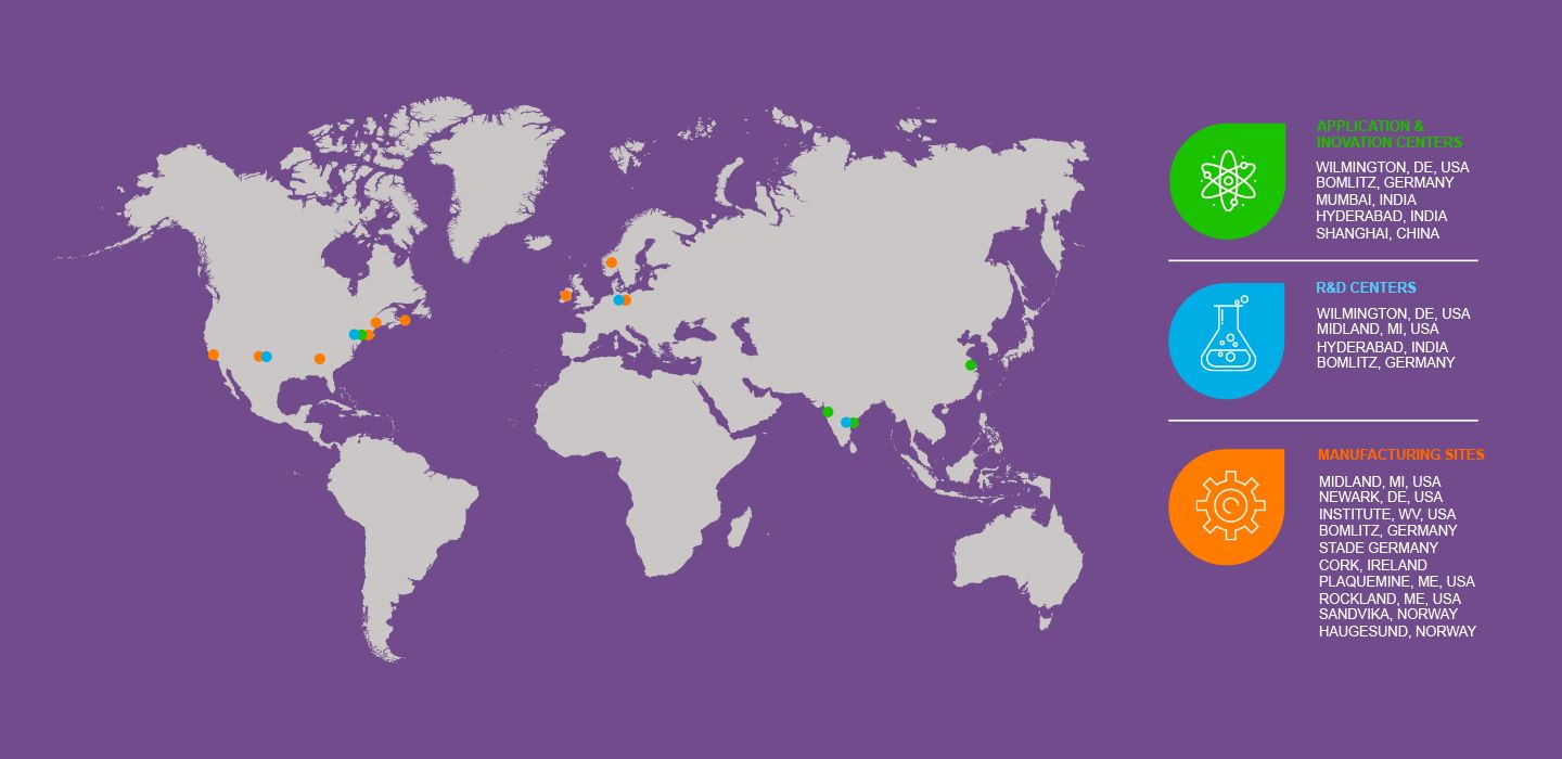 Global map with locations of DuPont Pharmaceutical laboratories.