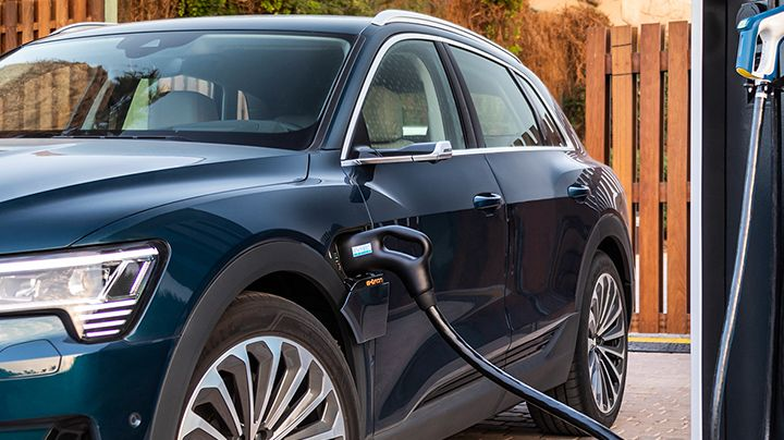 Open charging port on an Audi e-tron® electric vehicle