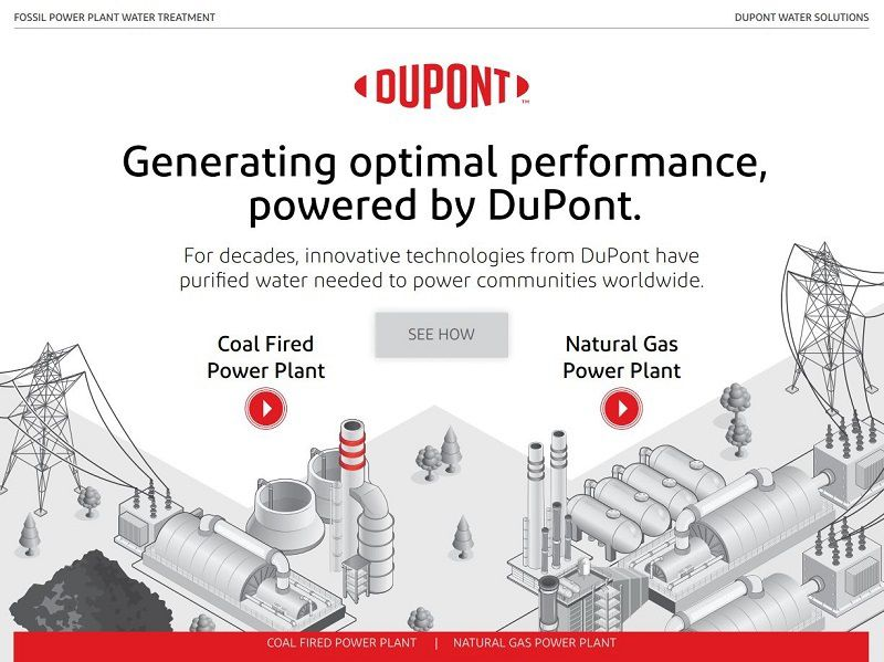 Interactive PDF cover with illustrations of a coal-fired and natural-gas-powered power generation plants