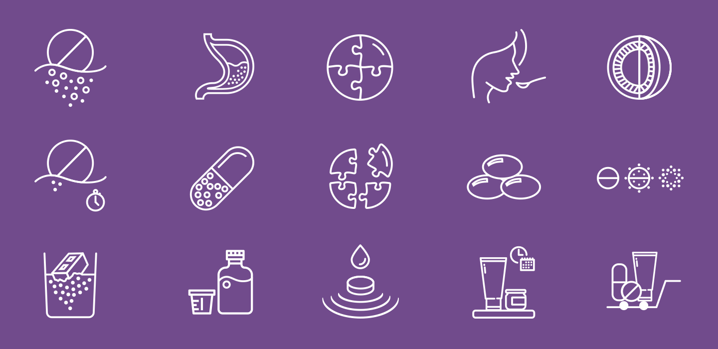 Icons resembling various dosage forms DuPont Pharma offers