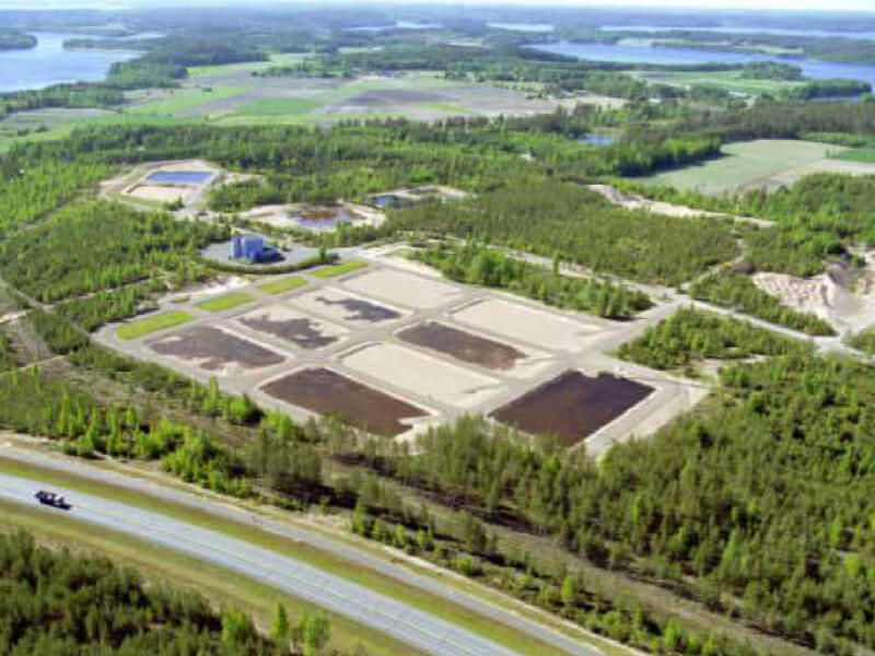Arial view of the Kuivala water treatment plant in southern Finland