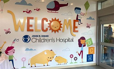 John R. Oishei Children's Hospital: Graphic signage laminated with Tedlar® protective film.