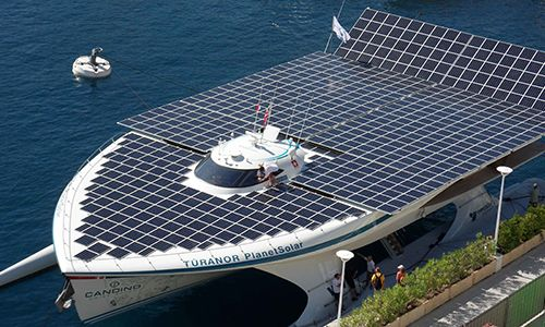 PlanetSolar, bedecked with Tedlar®-protected solar panels navigates around the world, 2012