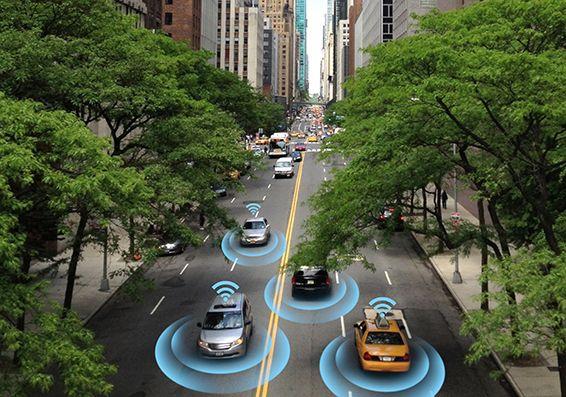 Autonomous vehicles on a city street