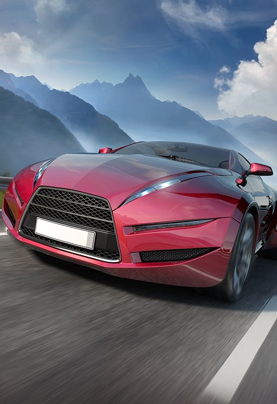 山路上的红色跑车