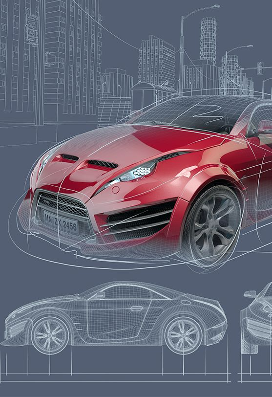 Red sportscar concept drawings